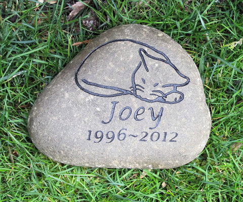 Cat Pet Memorial Garden Stone - Pet Stone Grave Marker - Burial Stone 7-8 Inches Wide - Natural River Stone