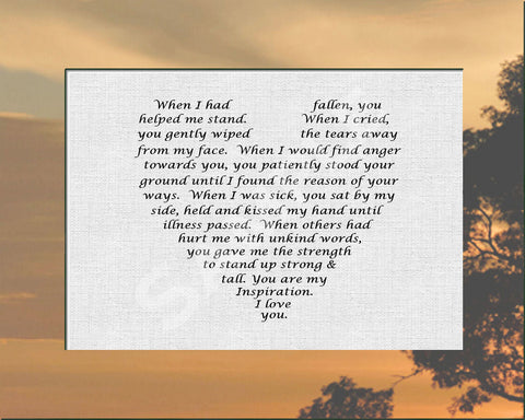 Gift for Mother or Father from Son or Daughter Love Poem 8 x 10 -DesignbyWord.Com