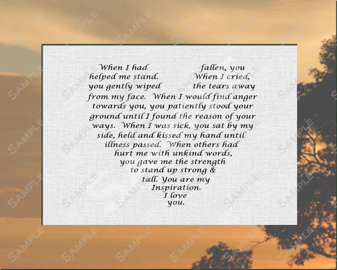 Gift for Mom. Gift for Dad From Son or Daughter Love Poem 8 x 10