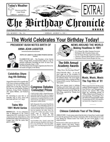 Unique Birthday Gift for All Ages. 65th, 75th, 85th, 95th Time Capsule. 8 x 10 Print