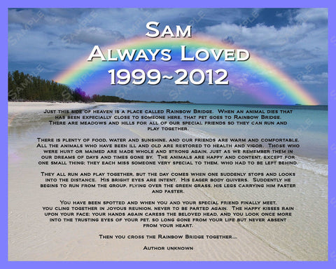 Pet Memorial. Dog, Cat Memorials. Rainbow Bridge Custom Poem
