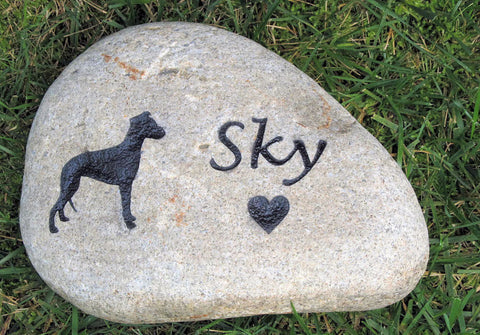 Personalized Stone Pet Memorial Stone Whippet 6-7 Inch Memorial Cemetery Burial Tombstone Grave Marker & Other Breeds Too - Pet Memorial Stones, Personalized Pet Stone Memorial Grave Marker, Dog Memorial, Cat Memorials, Pet Gravestone Markers, Headstone