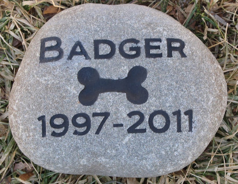 Pet Memorial Stone with Dog Bone Headstone Grave Marker 6-7 Inch Burial Stone Marker