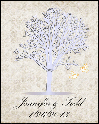 Personalized Lavender Wedding Tree Gift Wedding Tree Print with Hearts & Love Birds 8 X 10