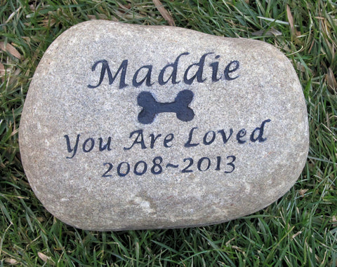 PERSONALIZED Stone Memorial Stone Gravestone Markers 8 - 9 inches wide Memorial Burial Headstone Marker With Dog Bone - Pet Memorial Stones, Personalized Pet Stone Memorial Grave Marker, Dog Memorial, Cat Memorials, Pet Gravestone Markers, Headstone