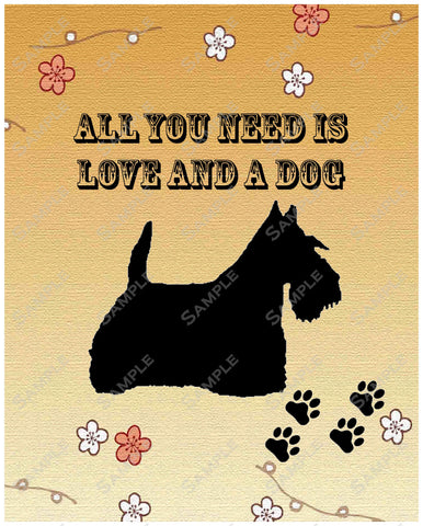 Scottish Terrier Scottie Dog  Art 8 X 10 Print