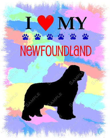 Personalized Newfoundland Dog Newfie Art 8 X 10 Print Newfie Pet Gifts