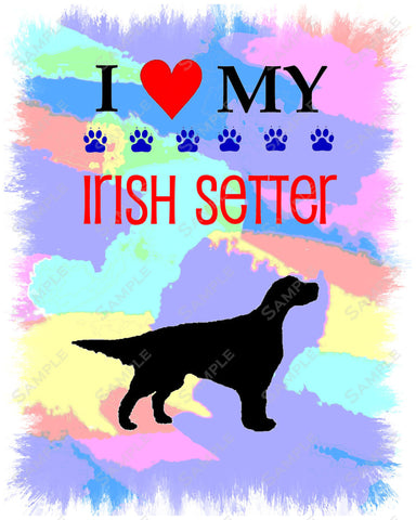 Personalized Irish Setter Dog Irish Setter Art 8 X 10 Print Irish Setter Pet Gifts