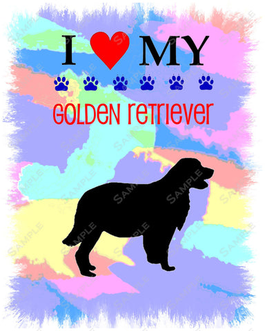 Personalized Golden Retriever Dog Golden Retriever Art 8 X 10 Print Golden Retriever Pet Gifts
