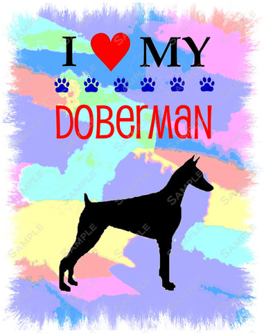 Doberman Art 8 X 10 Print. Doberman Pet Gifts