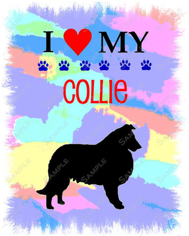 Personalized Collie Dog Collie Art 8 x 10 Print Collie Dog Gifts