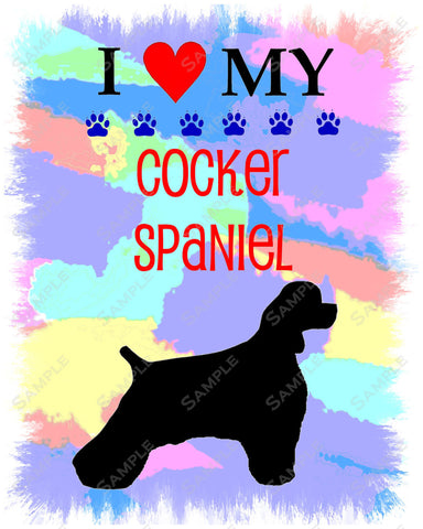Cocker Spaniel Art 8 X 10 Print. Cocker Spaniel Pet Gifts
