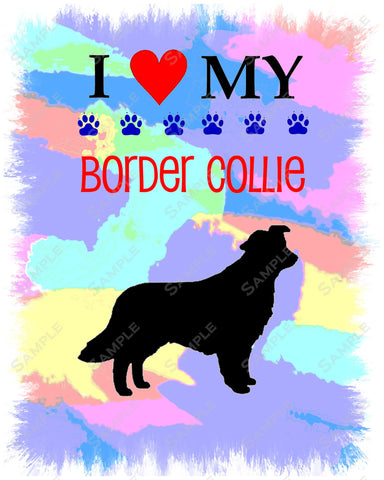Border Collie Art 8 X 10 Print. Border Collie Pet Gifts