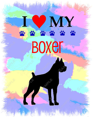 Boxer Dog Boxer Art 8 X 10 Print. Boxer Pet Gifts
