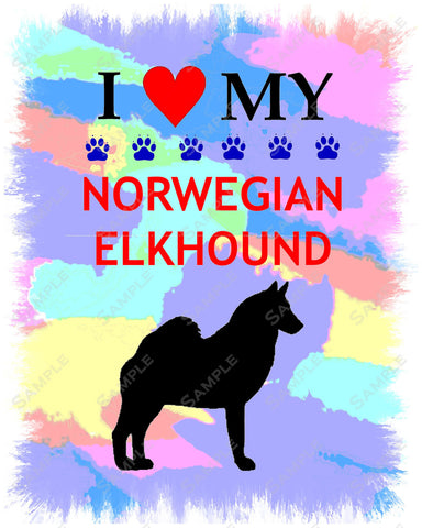 Norwegian Elkhound Art 8 X 10 Print. Norwegian Elkhound Pet Gifts