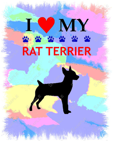 Personalized Rat Terrier Art 8 X 10 Print. Rat Terrier Pet Gifts