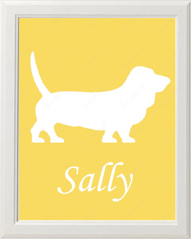 Personalized Basset Hound Dog Silhouette Basset Hound Art 8 X 10 Print Basset Hound Dog Pet Gifts