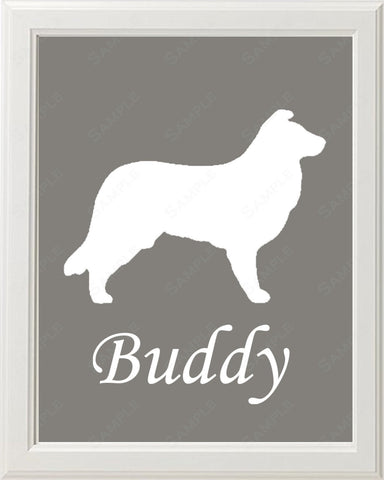 Personalized Border Collie Dog Border Collie Silhouette Art 8 X 10 Print Border Collie Dog Pet Gifts