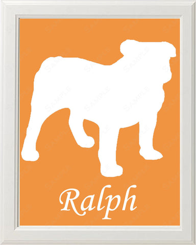 Personalized Bulldog Dog Bulldog Silhouette Art 8 X 10 Print Dog Bulldog Pet Gifts