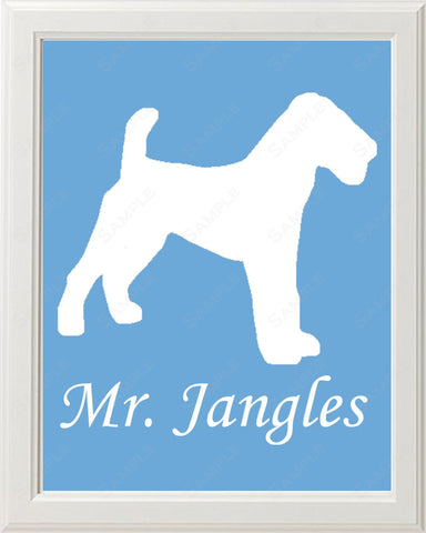 Personalized Fox Terrier Dog Fox Terrier Silhouette Art 8 X 10 Print Fox Terrier Dog Pet Gifts
