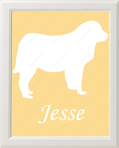 Personalized Great Pyrenees Dog Great Pyrenees Silhouette Art 8 X 10 Print Great Pyrenees Dog Pet Gifts