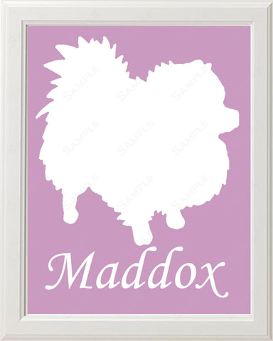 Personalized Pomeranian Dog Pomeranian Silhouette Art 8 X 10 Print Pomeranian Dog Pet Gifts