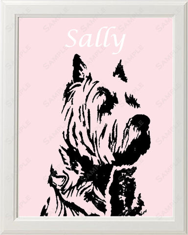 Westie Dog Silhouette Art 8 X 10 Print. Westie Dog Pet Gifts