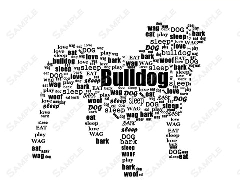 Custom Bulldog Wordart Bulldog 8 x 10 Print. Bulldog Dog Pet Gifts