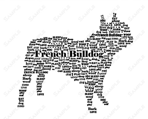French Bulldog Gifts. French Bulldog Word Art 8 x 10 Print. French Bulldog Dog Pet Gifts