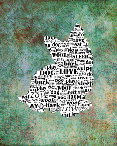 Personalized Yorkie Yorkshire Terrier Dog Silhouette Yorkie Word Calligram Art 8 X 10 Print Yorkie Dog Pet Gifts