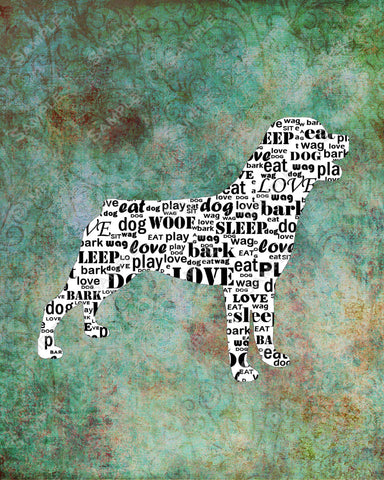 Personalized Rottweiler Dog Rottweiler Silhouette Word Art 8 X 10 Print Rottweiler Dog Pet Gifts