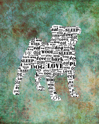 Personalized Pug Dog Pug Silhouette Word Art 8 X 10 Print Pug Dog Pet Gifts