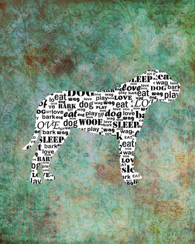 Personalized Mastiff Dog Silhouette Mastiff Word Art 8 X 10 Print Mastiff Dog Pet Gifts
