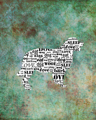Personalized Golden Retriever Dog Golden Retriever Silhouette Calligram Word Art 8 X 10 Print Golden Retriever Dog Pet Gifts