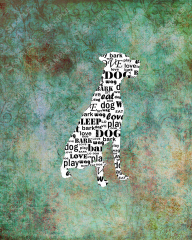 Personalized Great Dane Dog Silhouette Great Dane Word Art  8 X 10 Print Great Dane Dog Pet Gifts