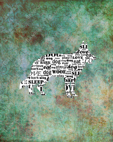 Personalized German Shepherd Dog Silhouette German Shepherd Word Art 8 X 10 Print German Shepherd Dog Pet Gifts