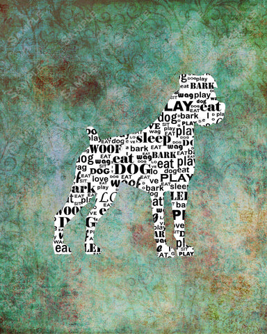 Personized Boxer Dog Silhouette Boxer Word Art 8 X 10 Print Boxer Dog Pet Gifts