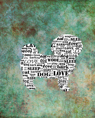 Personalized Bichon Frise Dog Silhouette Bichon Frise Word Art 8 X 10 Print Bichon Frise Dog Pet Gifts