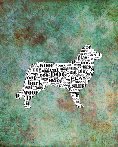 Personalized Border Collie Dog Silhouette Border Collie Word Art 8 X 10 Print Border Collie Dog Pet Gifts