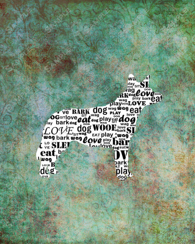 Personalized Australian Cattle Dog Silhouette Australian Cattle Dog Word Art 8 X 10 Print Australian Cattle Dog Pet Gifts