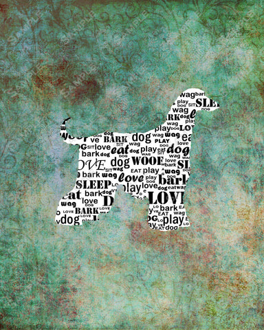 Afghan Hound Word Art 8 X 10 Print. Afghan Hound Dog Pet Gifts