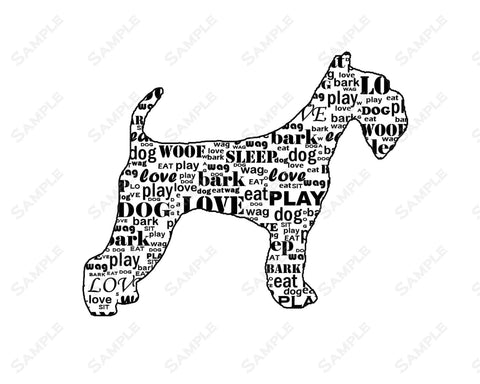 Airedale Wordart 8 X 10 Print. Airedale Pet Gifts