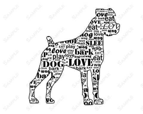 PERSONALIZED Boxer Dog Silhouette Boxer Dog Word Art 8 X 10 Print Boxer Dog Pet Gifts
