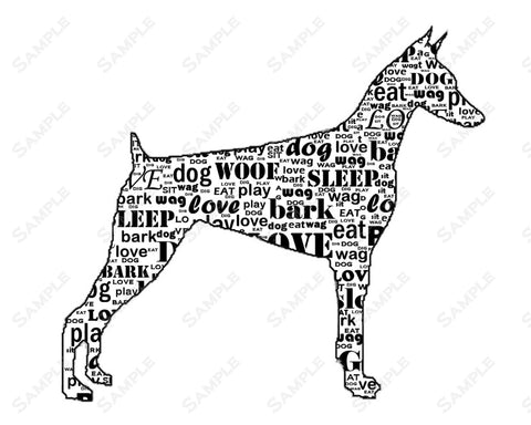 Doberman Print 8 X 10. Doberman Calligram Dog Print Pet Gifts