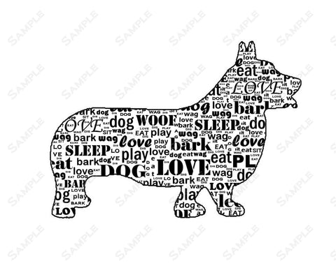 Corgi Dog Wordart 8 X 10 Print