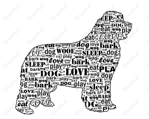 PERSONALIZED Newfoundland Newfie Dog Newfie Silhouette Word Art 8 X 10 Print Newfie Dog Pet Gifts