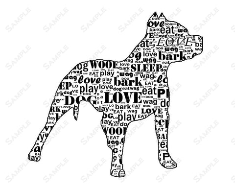 PERSONALIZED Pitbull Dog Pitbull Silhouette Word Art 8 X 10 Print Pitbull Dog Pet Gifts