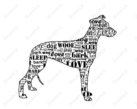 PERSONALIZED Whippet Dog Silhouette Whippet Word Art 8 X 10 Print Whippet Dog Pet Gifts