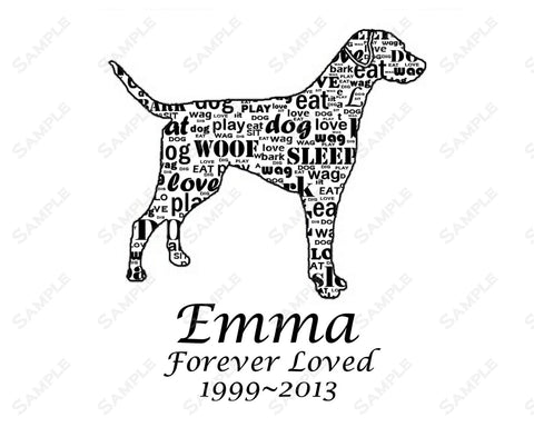 Personalized Pet Memorials for Pets Dog Pet Memorials 8 X 10 Print Dog Pet Memorial Word Art