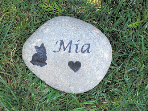 Personalized Pet Memorial Stone Yorkie 8-9 Inch Memorial Burial Grave Stone Marker Pet Stone Memorial & Other Dog Breeds - Pet Memorial Stones, Personalized Pet Stone Memorial Grave Marker, Dog Memorial, Cat Memorials, Pet Gravestone Markers, Headstone